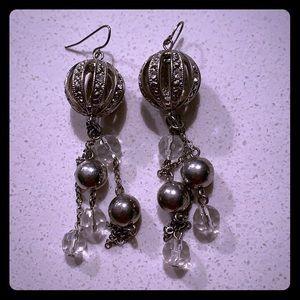 Jewelry - Dangle ball earrings. EUC. Fancy!